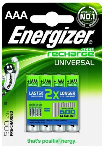 Energizer Universal Akku HR 03 AAA Micro 500 mAH Ready to Use 4er Blister