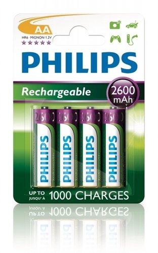 Philips Multilife Akkus HR6 AA Mignon 2600 mAh 4er Blister