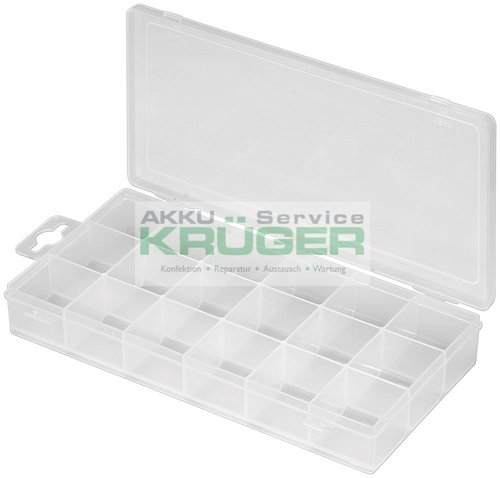 Plastikleerbox mit 18 Fächern, Transparent